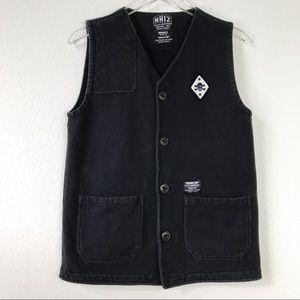 NHIZ Izzue x Neighborhood Sleeveless 100% Cotton Button Front Black Vest Size S